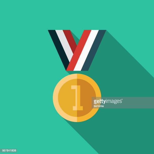 medal flat design sports icon with side shadow - medal stock illustrations