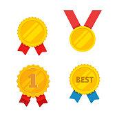 Medal gold vector set, flat cartoon golden medallion, award symbol, achievement badge isolated clipart