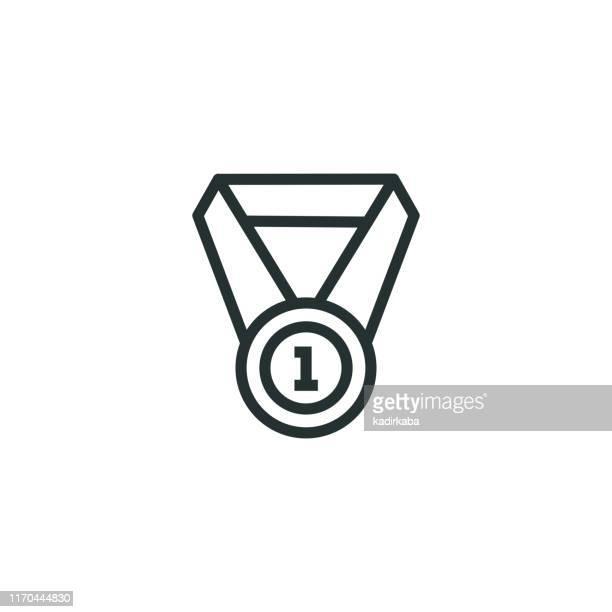 medal line icon - bronze medal stock illustrations