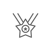 Medal, star, USA icon. Element of 4th of july icon. Thin line icon for website design and development, app development. Premium icon