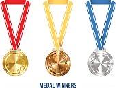 . Medal with Ribbon Set, Vector Illustration
