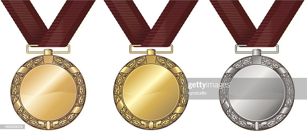 Medals gold silver and bronze : stock illustration
