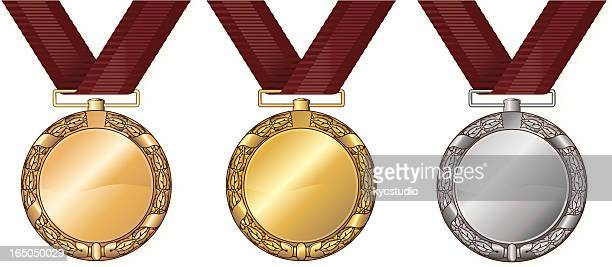 medals gold silver and bronze - medallion stock illustrations, clip art, cartoons, & icons