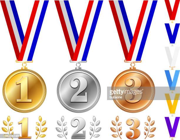 Medals in Gold, Silver and Bronze with Ribbons