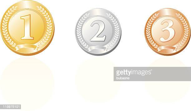 Medals In gold,silver and bronze royalty free vector illustration
