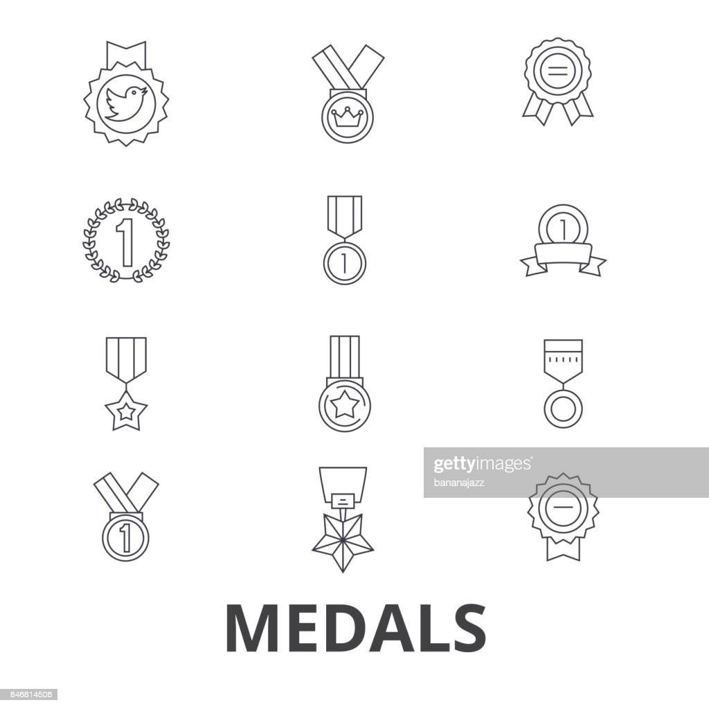 Medals, trophy, gold medal, award, medallion, . medal, winner, badge line icons. Editable strokes. Flat design vector illustration symbol concept. Linear signs isolated