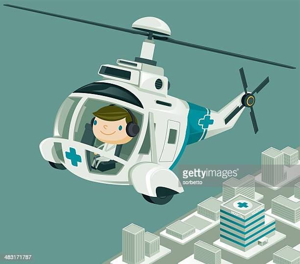 Medevac  Helicopter flying over the City