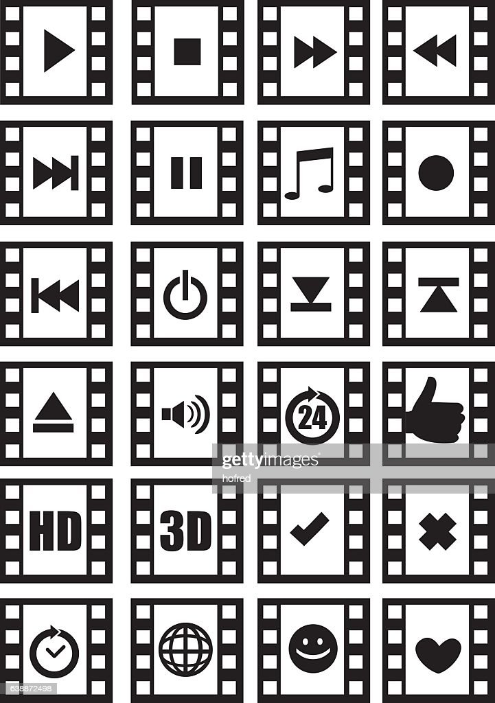 Media and Audio Symbols on Negative Film Vector Icon Set