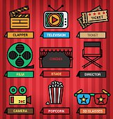Media and cinema icons set