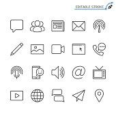 Media and communication line icons. Editable stroke. Pixel perfect.