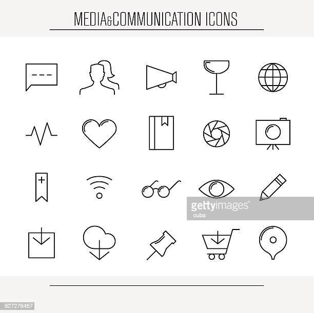 media and communication minimalistic icons - aperture stock illustrations, clip art, cartoons, & icons