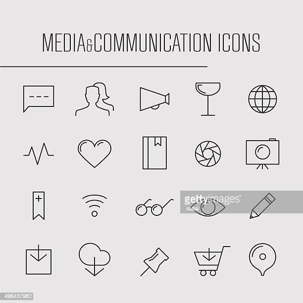 media and communication thin line icons - brooch stock illustrations