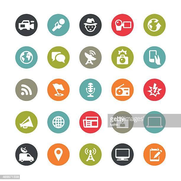 medien und journalismus mit vektor-icons/ringico series - journalismus stock-grafiken, -clipart, -cartoons und -symbole