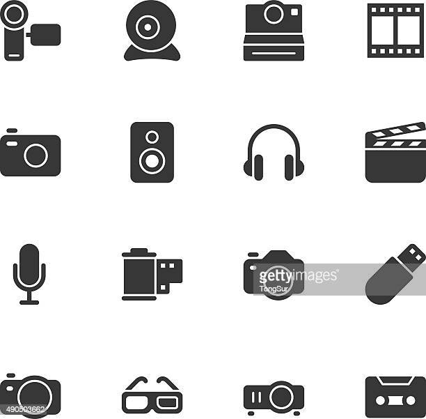 media and technology icons - regular - hearing protection stock illustrations