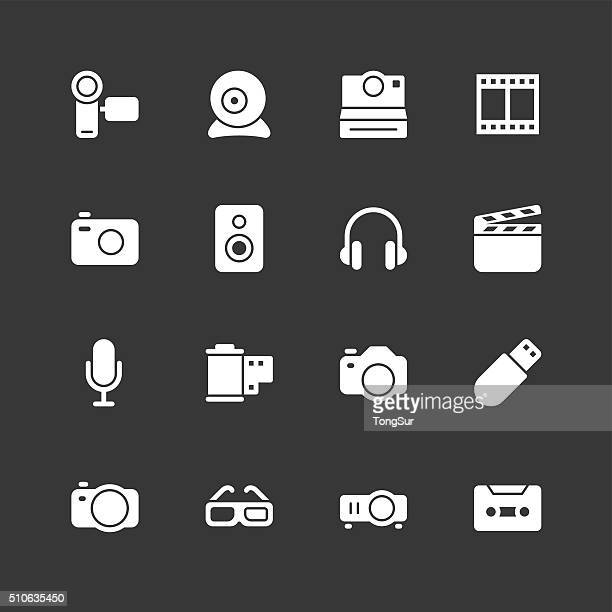 media and technology icons - regular - white series - microphone stand stock illustrations