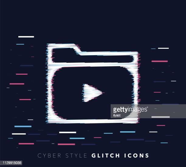 illustrazioni stock, clip art, cartoni animati e icone di tendenza di illustrazione dell'icona vettoriale effetto glitch archivio multimediale - problemi