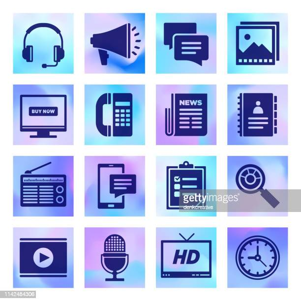 media bias, report & technology holographic style vector icon set - unfairness stock illustrations