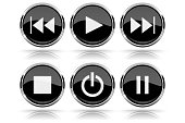Media buttons. Black round glass buttons with chrome frame