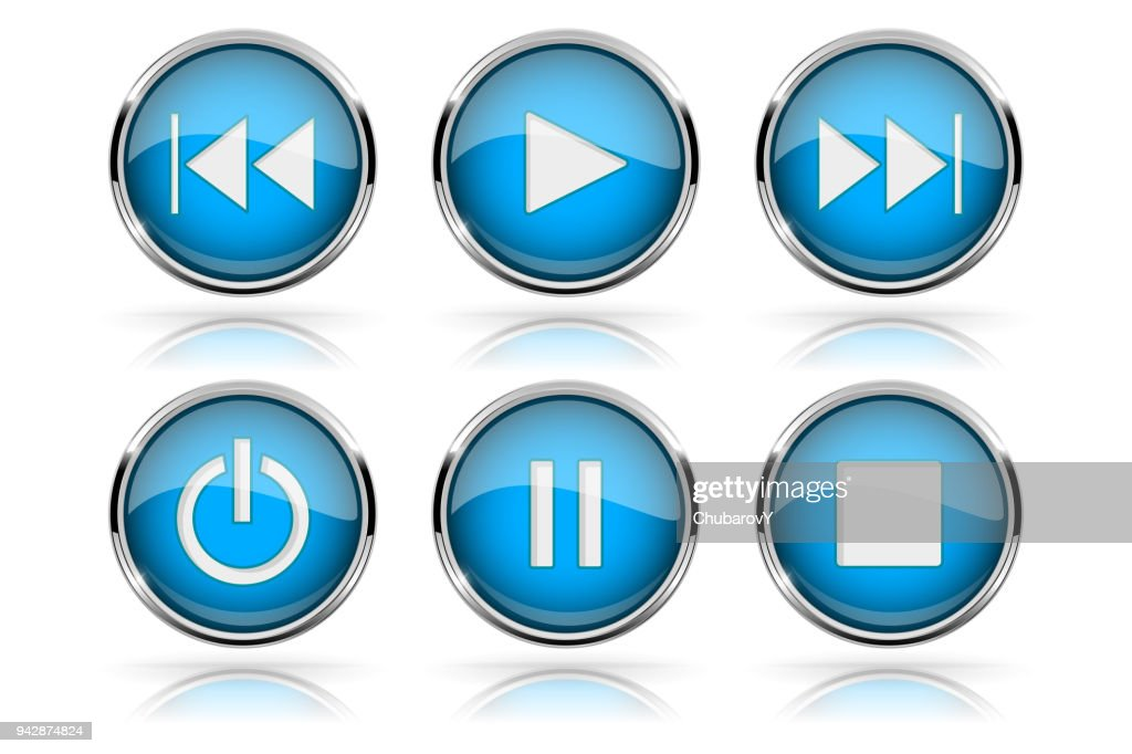 Media buttons. Blue round glass buttons with chrome frame
