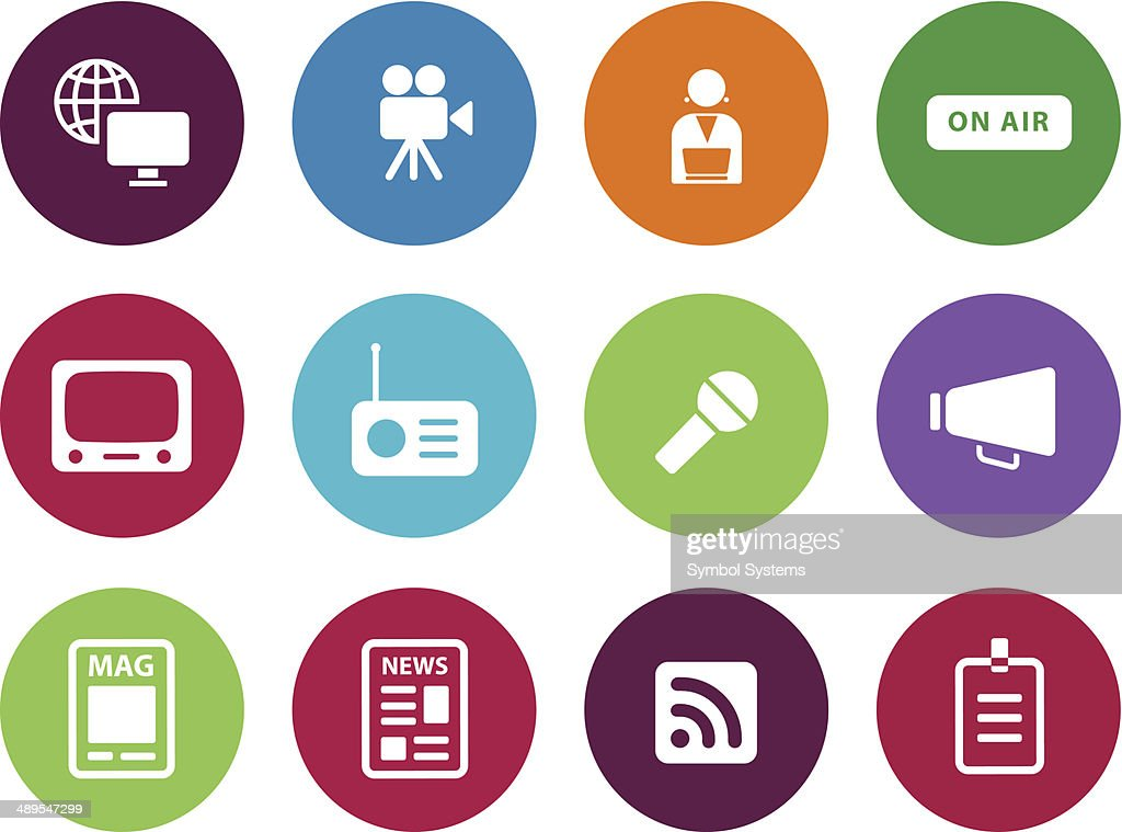 Media circle icons on white background.