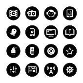 Media Circle Icons Set