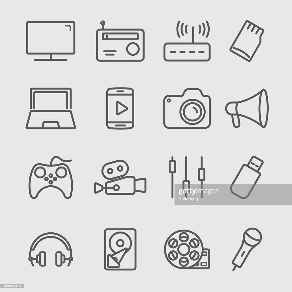 Media devices line icon