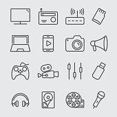 Media devices line icon