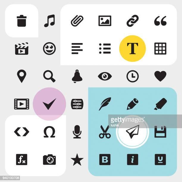 media-editor icons set - schriftnachricht stock-grafiken, -clipart, -cartoons und -symbole