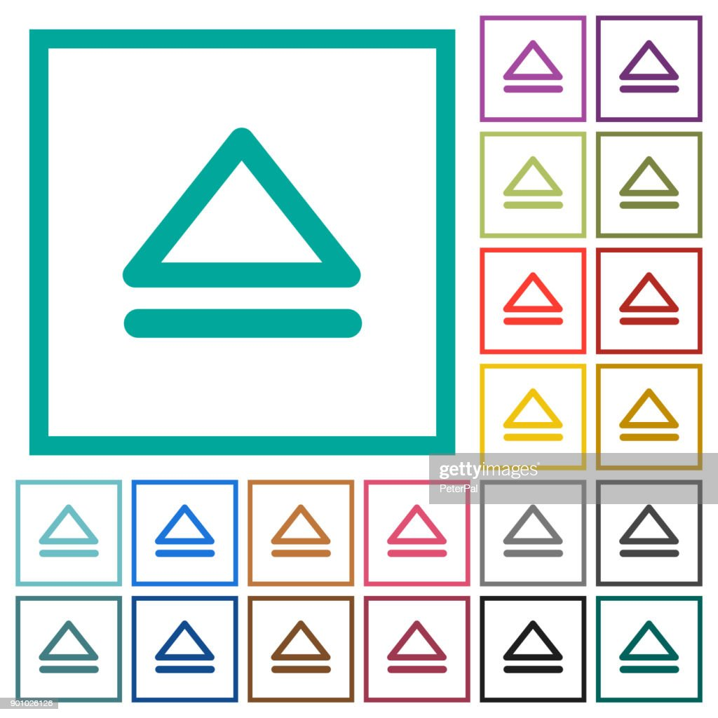 Media eject flat color icons with quadrant frames