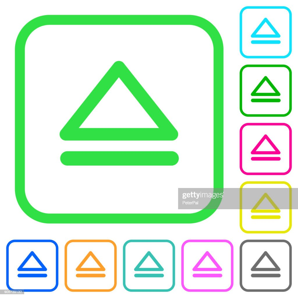 Media eject vivid colored flat icons