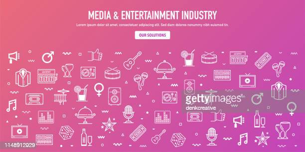 media entertainment industry outline style web banner design - nightlife stock illustrations