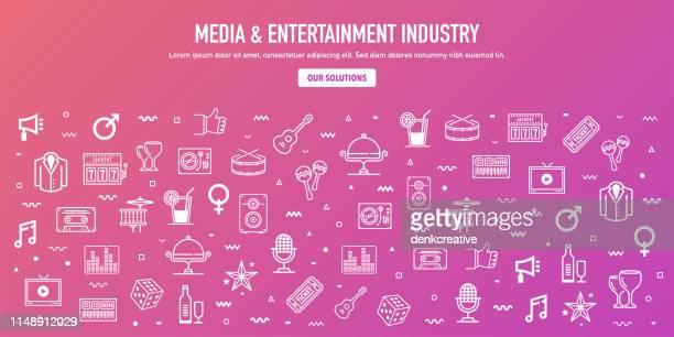 stockillustraties, clipart, cartoons en iconen met media entertainment industrie overzicht stijl web banner design - television show