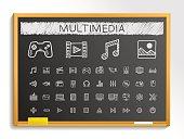 Media hand drawing sketch icons set. Vector doodle blackboard illustration