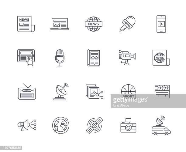 illustrations, cliparts, dessins animés et icônes de ensemble d'icônes de médias - salle de presse