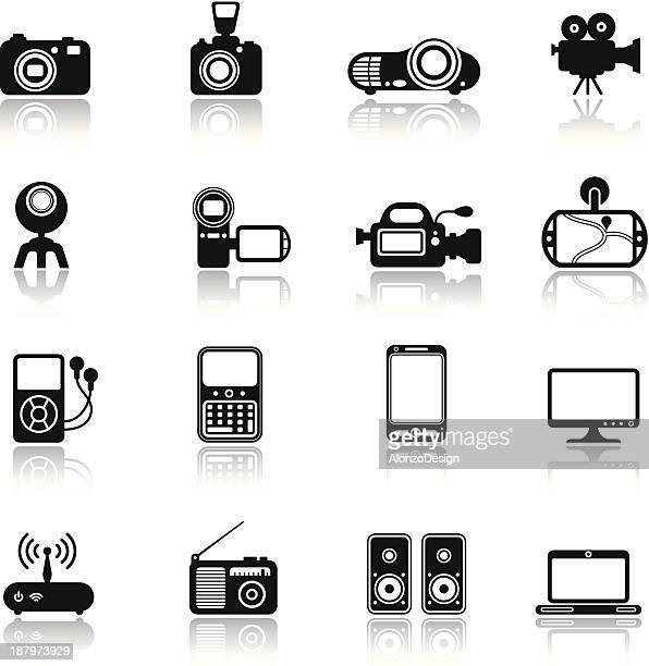 stockillustraties, clipart, cartoons en iconen met media icon set - digitale camera