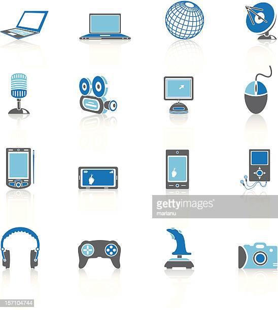 media icons 2 - blue series - joystick stock illustrations, clip art, cartoons, & icons