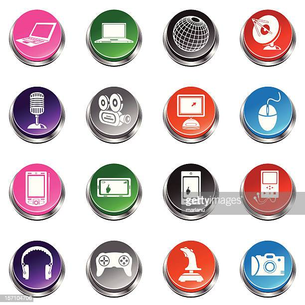 Media Icons  - 3D Push Button Series