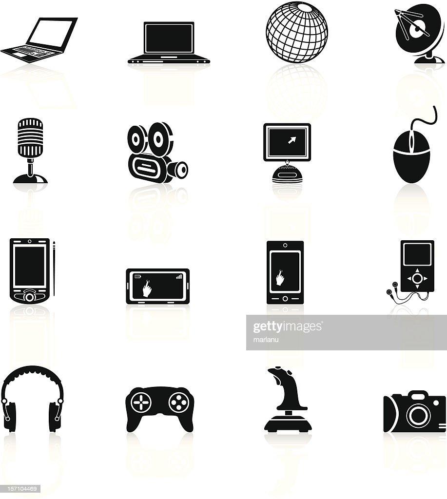 Media Icons - Black Series : stock illustration
