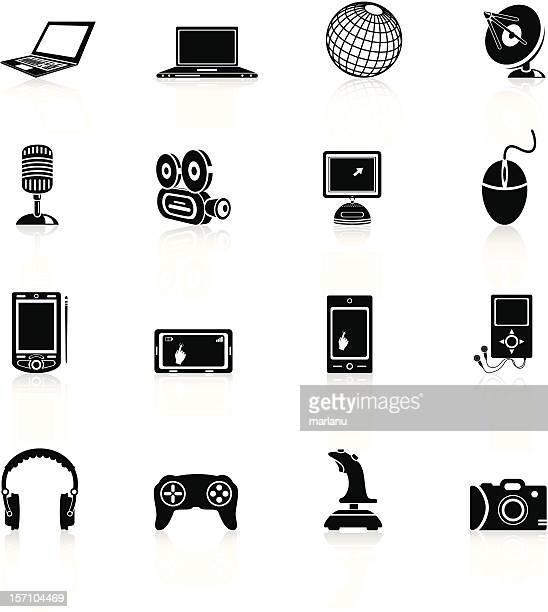 illustrations, cliparts, dessins animés et icônes de media série d'icônes-noir - joystick