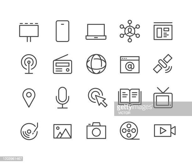 media icons - classic line series - magazine stock illustrations