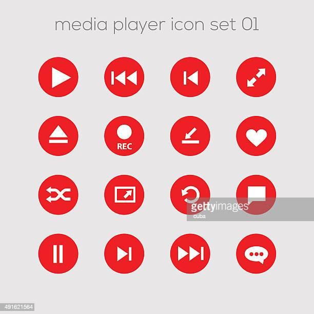 media icons collection set 1 - shuffling stock illustrations