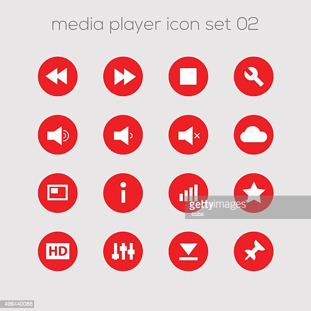 Media icons collection set 2