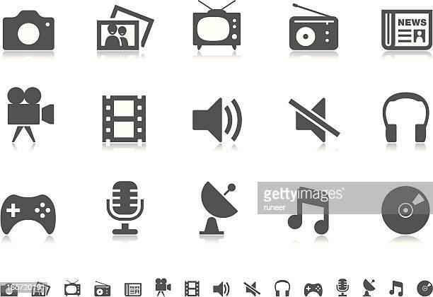 media icons | pictoria series - video still stock illustrations, clip art, cartoons, & icons