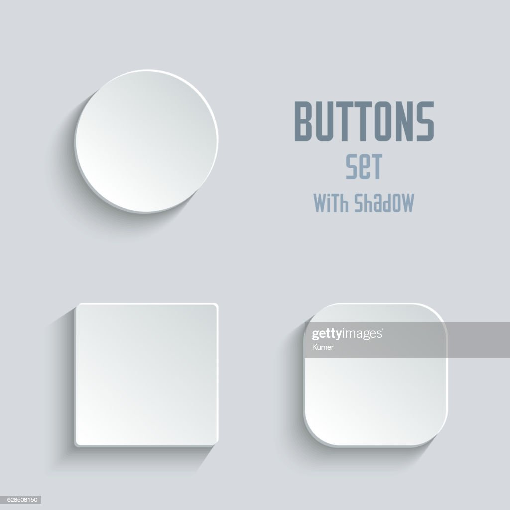 Media icons set - vector white app buttons
