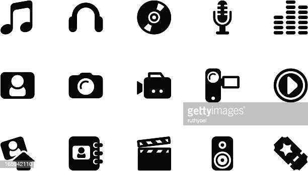 Media icons . Simple black