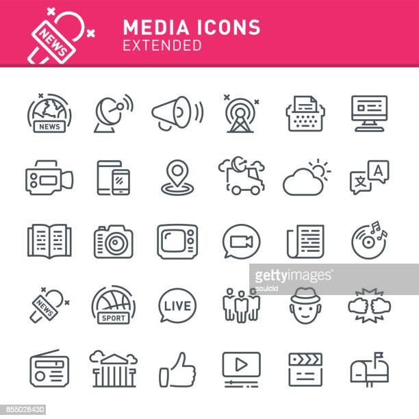 stockillustraties, clipart, cartoons en iconen met media iconen - kanaal