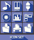 Media icons,Blue buttons,vector