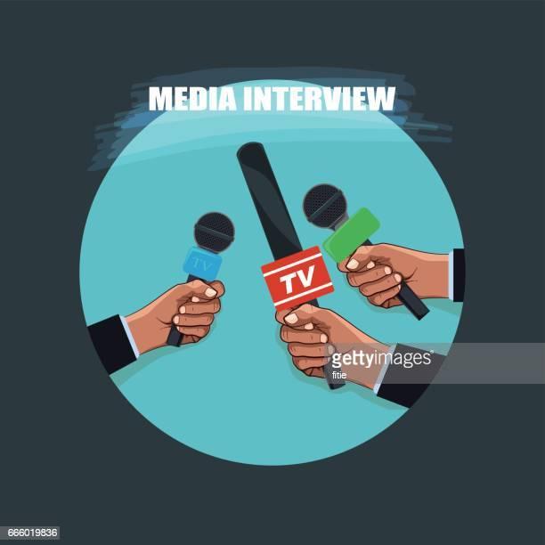 メディアのインタビュー - メディア機材点のイラスト素材/クリップアート素材/マンガ素材/アイコン素材