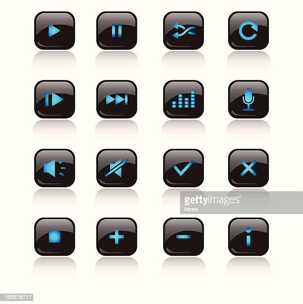 Media LED Icons Set ( blue )