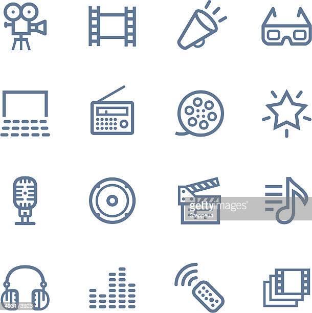 media line icons - multimedia stock illustrations